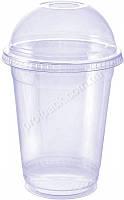 Стакан одноразовый с Купольной крышкой, пластиковый плотный, прозрачный, 350мл