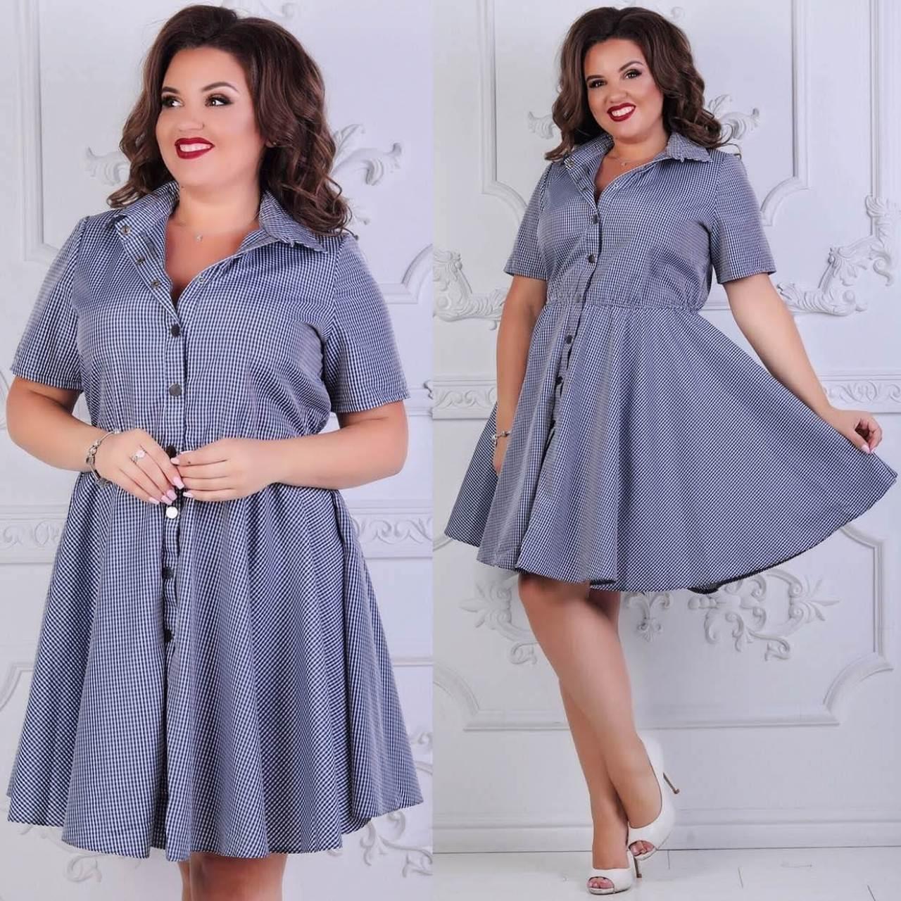 Женское платье Цвета: в ассортименте. Размеры 50,52,54,56.  Ткань коттон