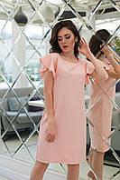 Стильне жіноче літнє плаття з рюшами на рукавах (рожевий). Арт - 2541/64, фото 1