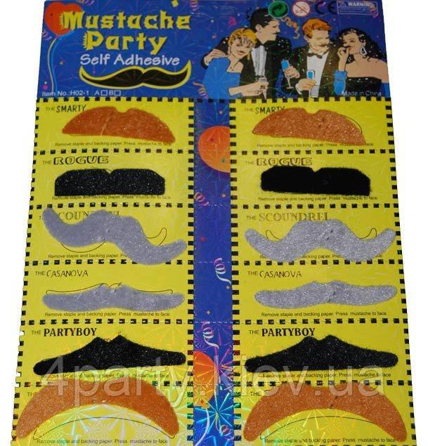 Набор накладных усов 12 разноцветные 240216-384