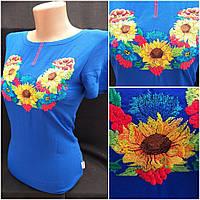 Национальная женская футболка с вышивкой, трикотаж, р-ры S, 160