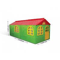Великий дитячий ігровий будиночок зі шторками (червоно-зелений), 02550/23