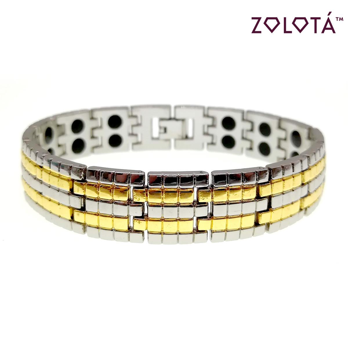 Магнитный браслет с германием и вставками позолоты, длина 21 см, БР00035 (21 см)