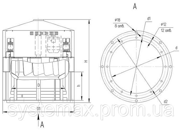 Чертеж крышного вентилятора ВКР №12,5