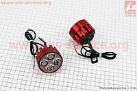 Фара дополнительная светодиодная - 4 LED с креплением под зеркало, к-кт 2шт, КРАСНЫЙ