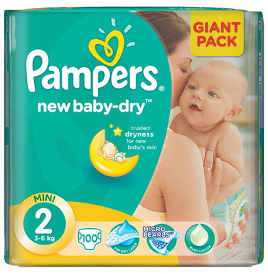 c764d523479c Pampers подгузники New Baby 2 Mini (3-6 кг), 100 шт. - заказать ...