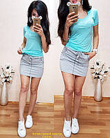 Летний женский костюм юбка и однотонная футболка, фото 1