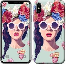 """Чехол на iPhone X Девушка с цветами """"2812c-1050-328"""""""