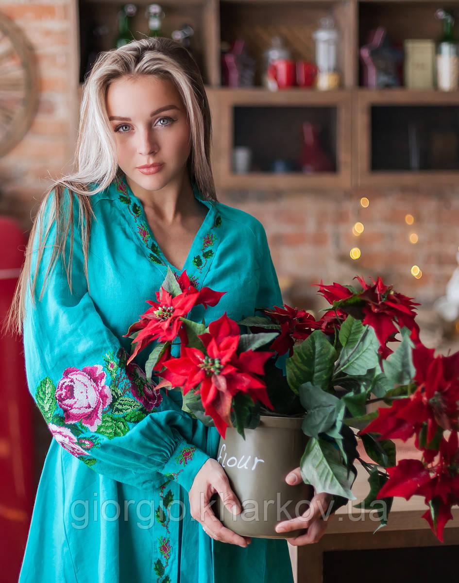 """Платье """"Троянди"""" лен бирюза"""