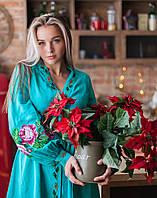 """Платье """"Троянди"""" лен бирюза, фото 1"""