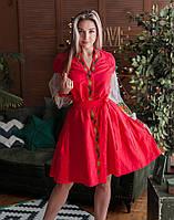 """Платье """"Троянди"""" лен красный"""
