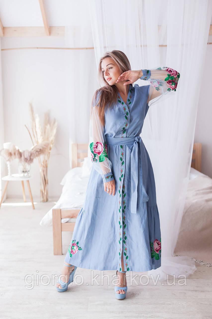 "Платье ""Троянди"" лен голубой"