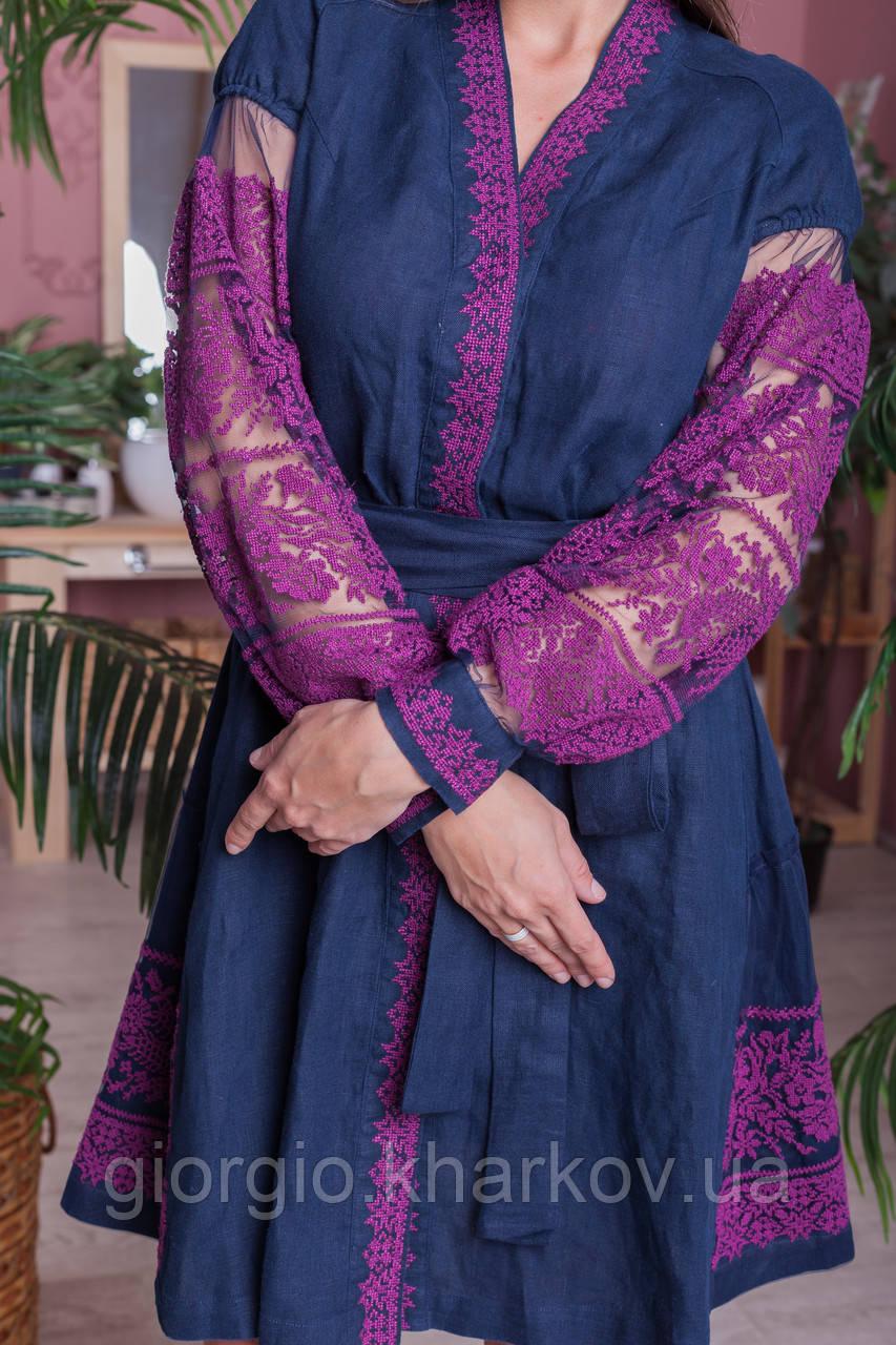 """Платье """"Дружина хлібороба"""" лен т.синий"""