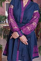 """Платье """"Дружина хлібороба"""" лен т.синий, фото 1"""