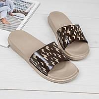 Женские легкие пляжные силиконовые шлепанцы на платформе коричневые, фото 1