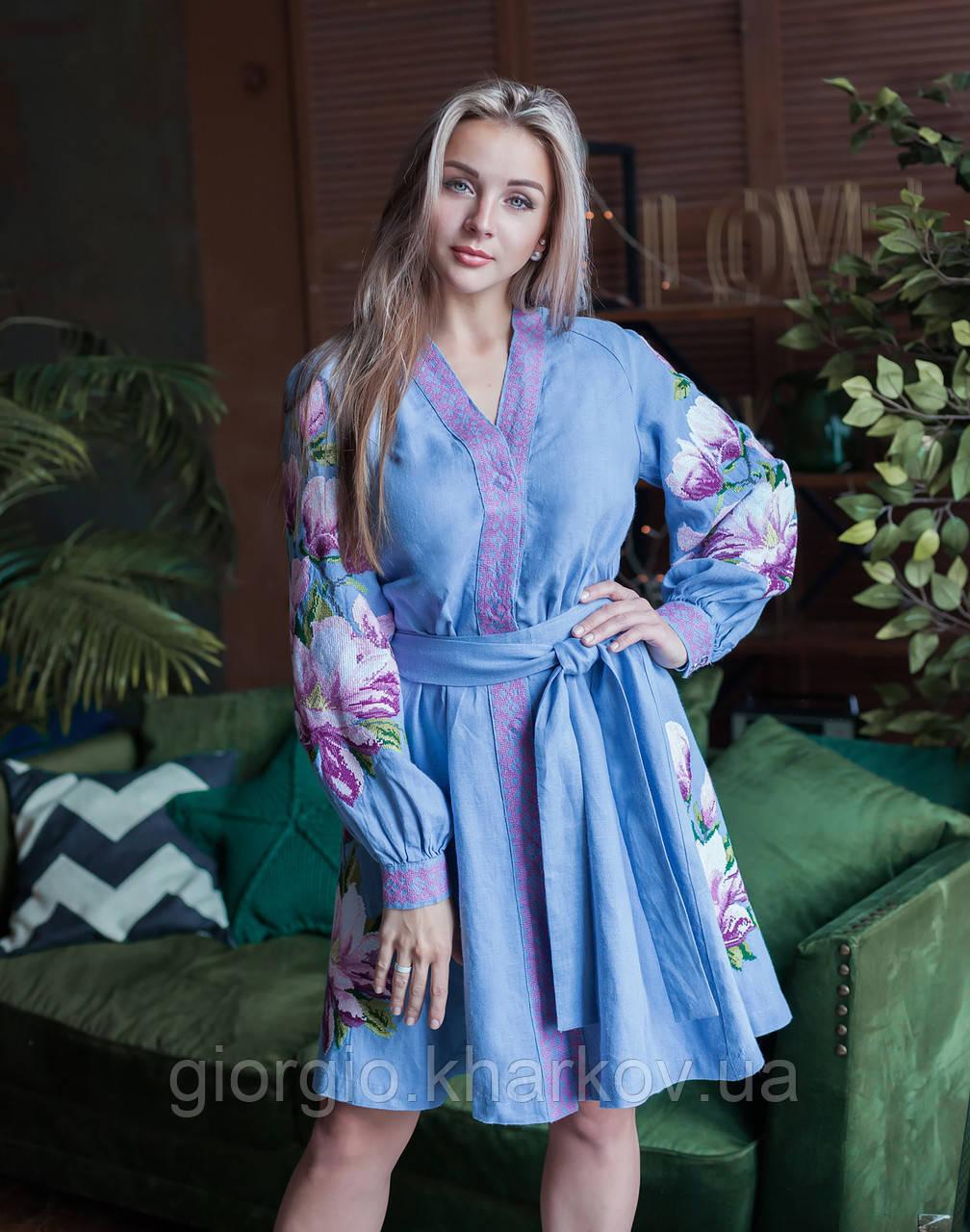 """Платье """"Магнолия"""" лен голубой"""