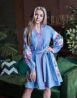 "Платье ""Магнолия"" лен голубой, фото 1"