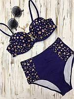 Раздельный женский синий купальник с цветочным принтом и плавками в стиле ретро, фото 1