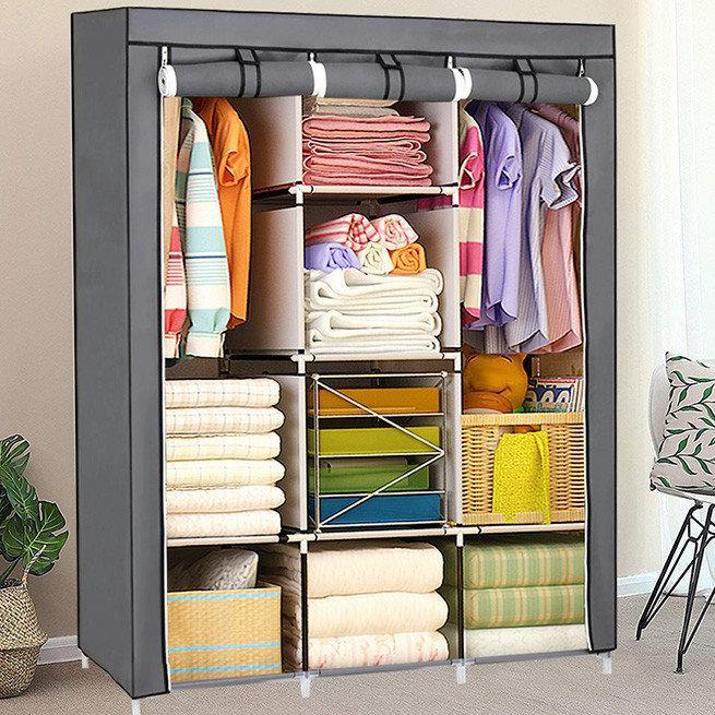 Большой тканевый шкаф для одежды 88130 (расцветки в ассортименте)