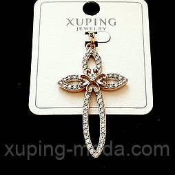 Кулон крест xuping  47х25 позолота 18к