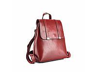 Рюкзак женский кожаный красный повседневный городской стильный