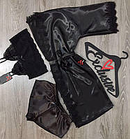Черный набор халат+топ+шорты.