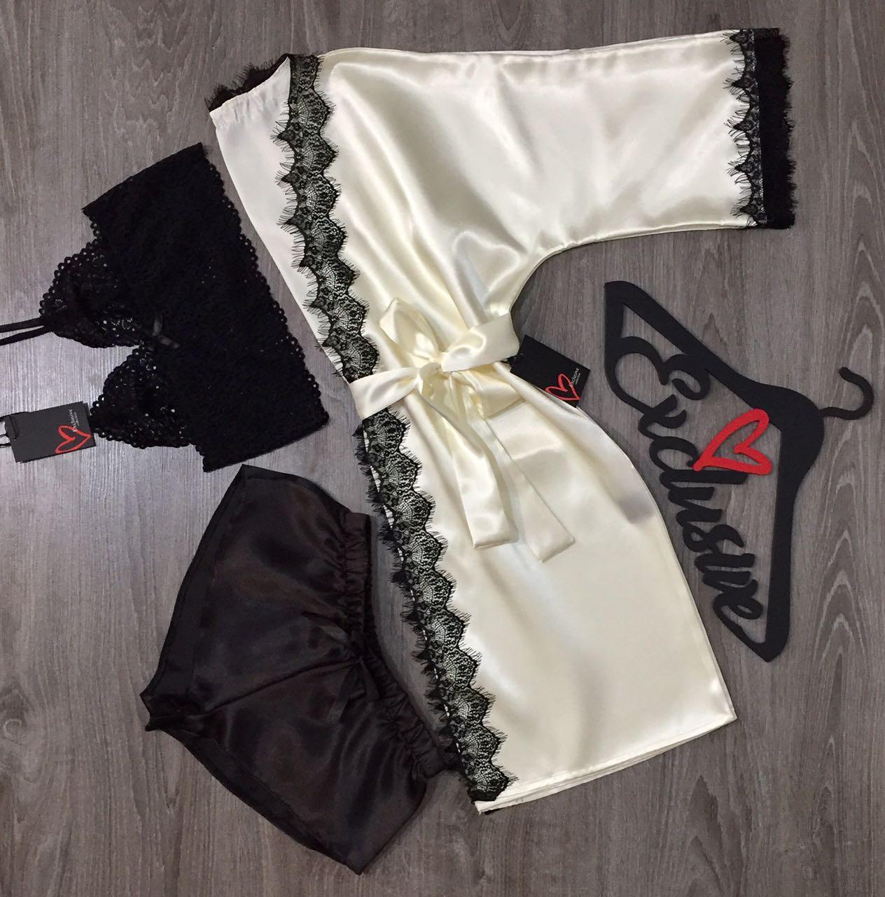 Летний комплект домашней одежды халат+топ+шорты.