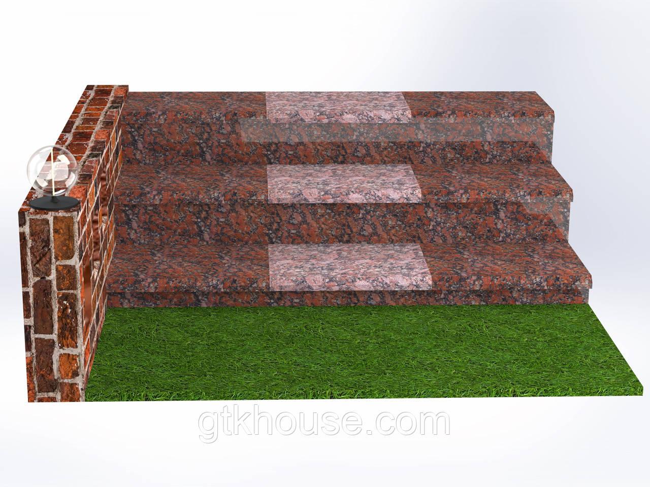 Плитка гранитная для ступеней Капустинская (Размер - 300×400×30)