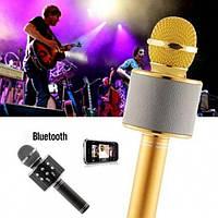 Беспроводной микрофон караоке блютуз WS-858 Bluetooth динамик USB Золотой