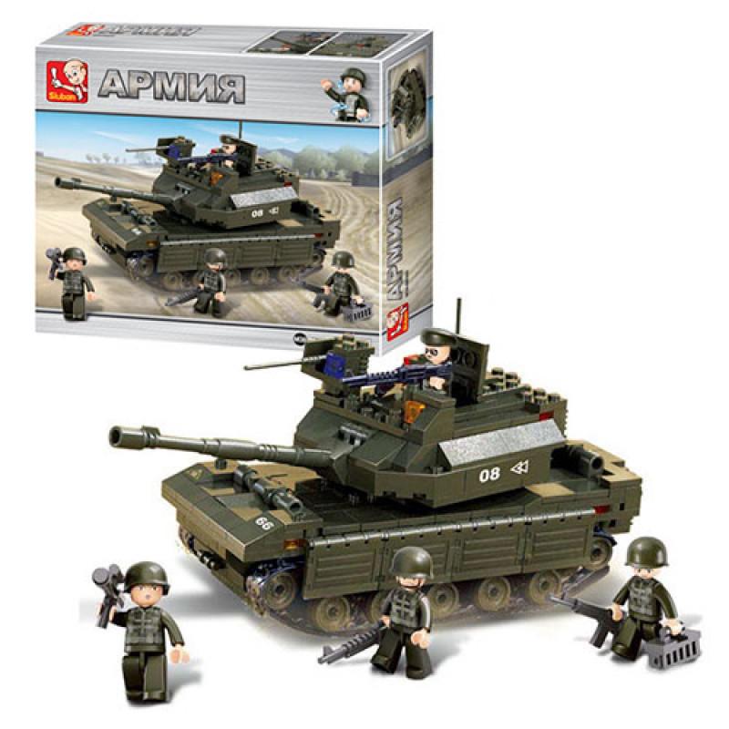Конструктор SLUBAN Армия, танк, фигурки, 312 дет, M38-B6500