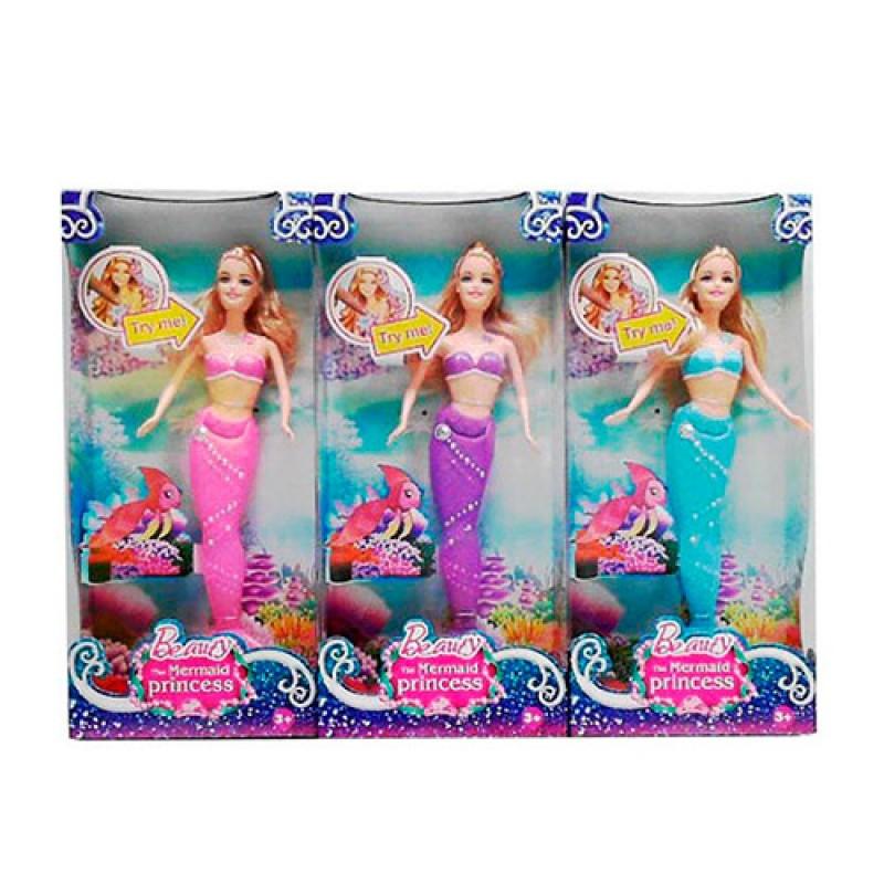 Кукла русалка, 32см, свет, микс цветов, CH739