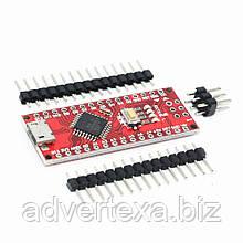 Arduino Nano V3.0 ATmega168P ch340g MicroUsb UART 5 В. 16 мГц. Ножки (контакты) не припаяны.