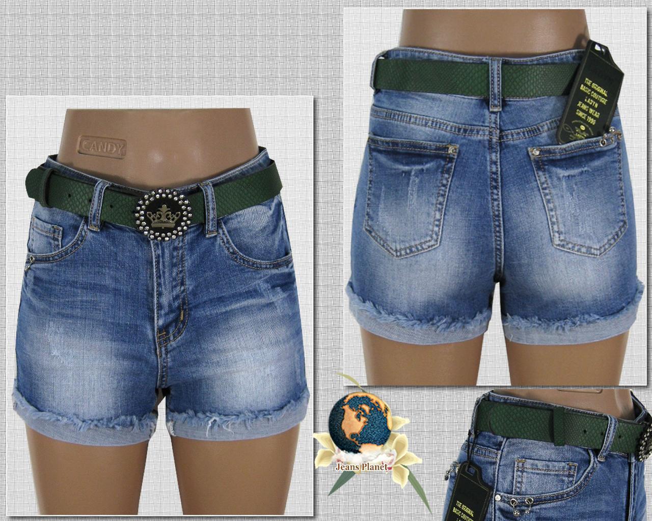 Шорты женские джинсовые короткие Lady N отворот бахрома