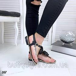 36 размер Женские босоножки черные на низком ходу с розой эко-кожа