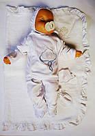 Крестильный набор (Крыжма+ Штанишки+ распашонка+ Чепчик) для мальчика