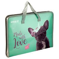 Папка портфель на молнии с тканевыми ручками Kite Studio Pets