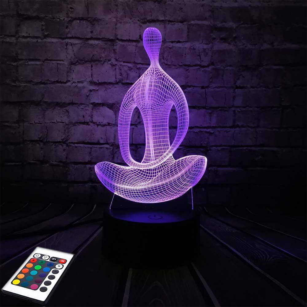 3D светильник с пультом 3D Lamp Йога (LP-3000)