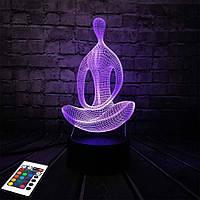3D светильник с пультом и аккумулятором 3D Lamp Йога (LP-3000), фото 1
