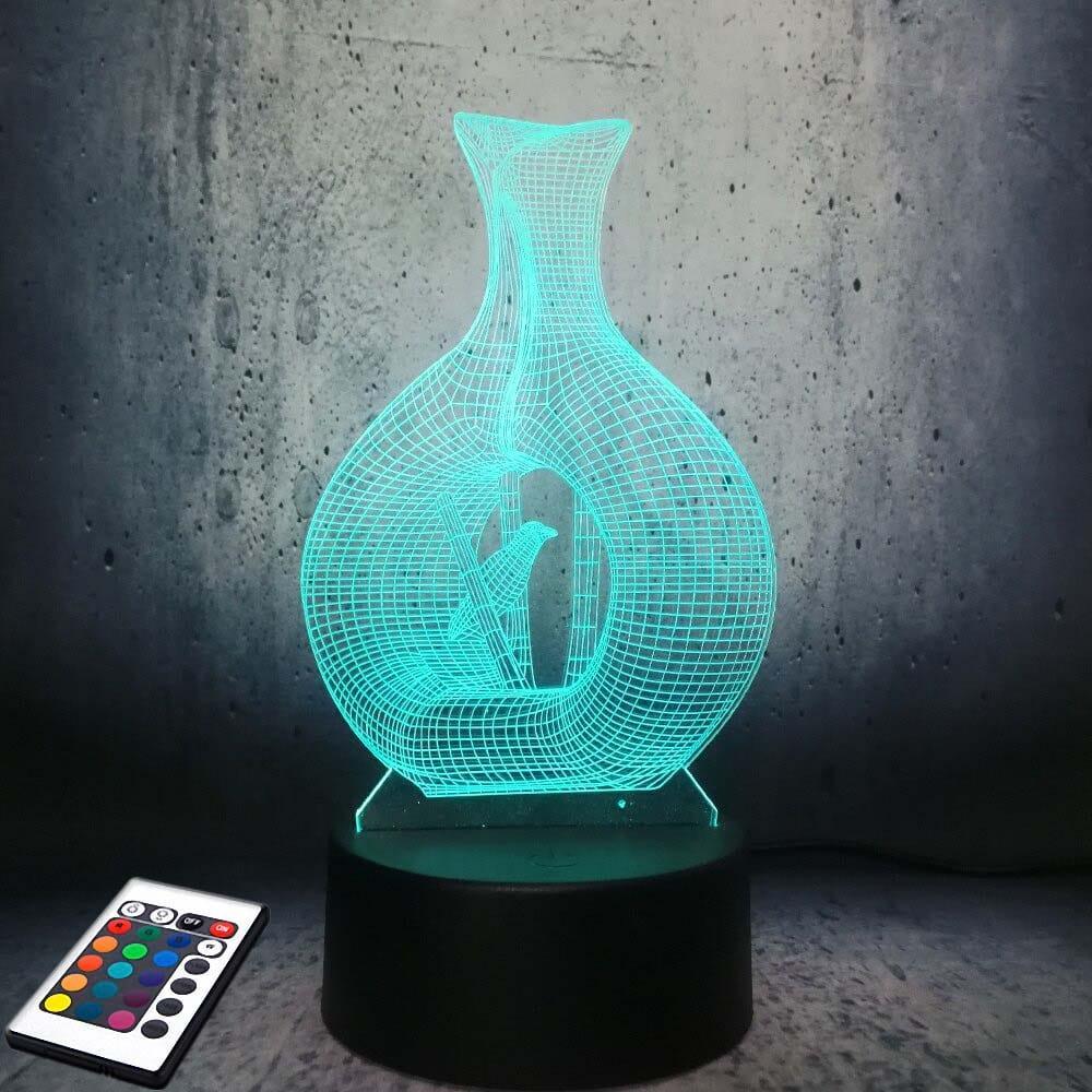 3D светильник с пультом и аккумулятором 3D Lamp Птица (LP-2968)