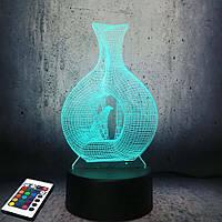 3D светильник с пультом и аккумулятором 3D Lamp Птица (LP-2968), фото 1