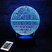 3D светильник с пультом и аккумулятором 3D Lamp Звезда смерти (LP-2936), фото 1