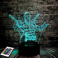 3D светильник с пультом и аккумулятором 3D Lamp Дедпул (LP-2928), фото 1