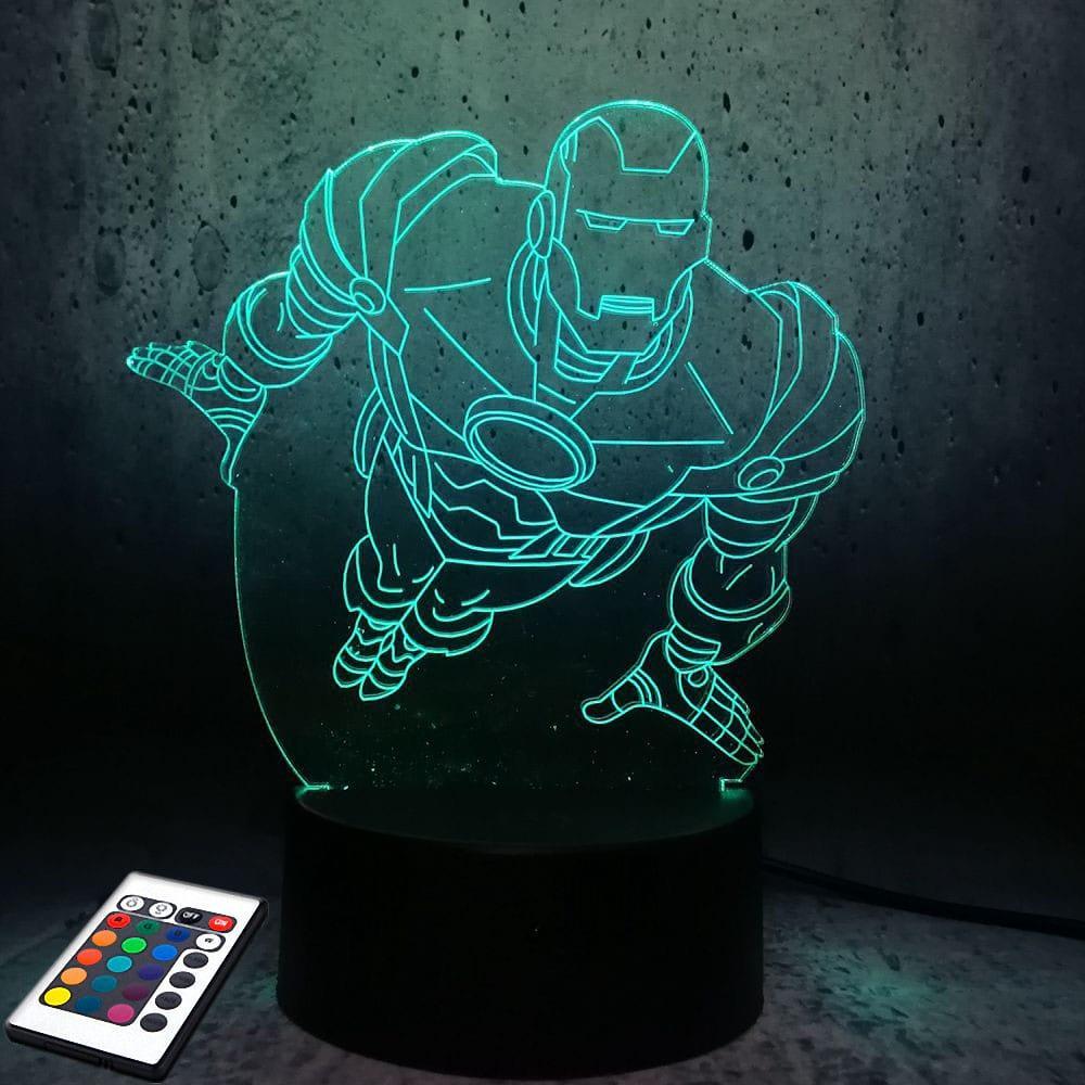 3D светильник с пультом и аккумулятором 3D Lamp Железный человек v.2 (LP-2904)