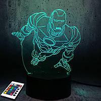 3D светильник с пультом и аккумулятором 3D Lamp Железный человек v.2 (LP-2904), фото 1
