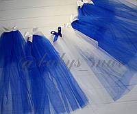 Фата кольорова для дівич-вечора класична синя