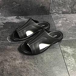 Черные мужские шлепанцы Кларкс кожаные летние Украина Clarks Black Leather