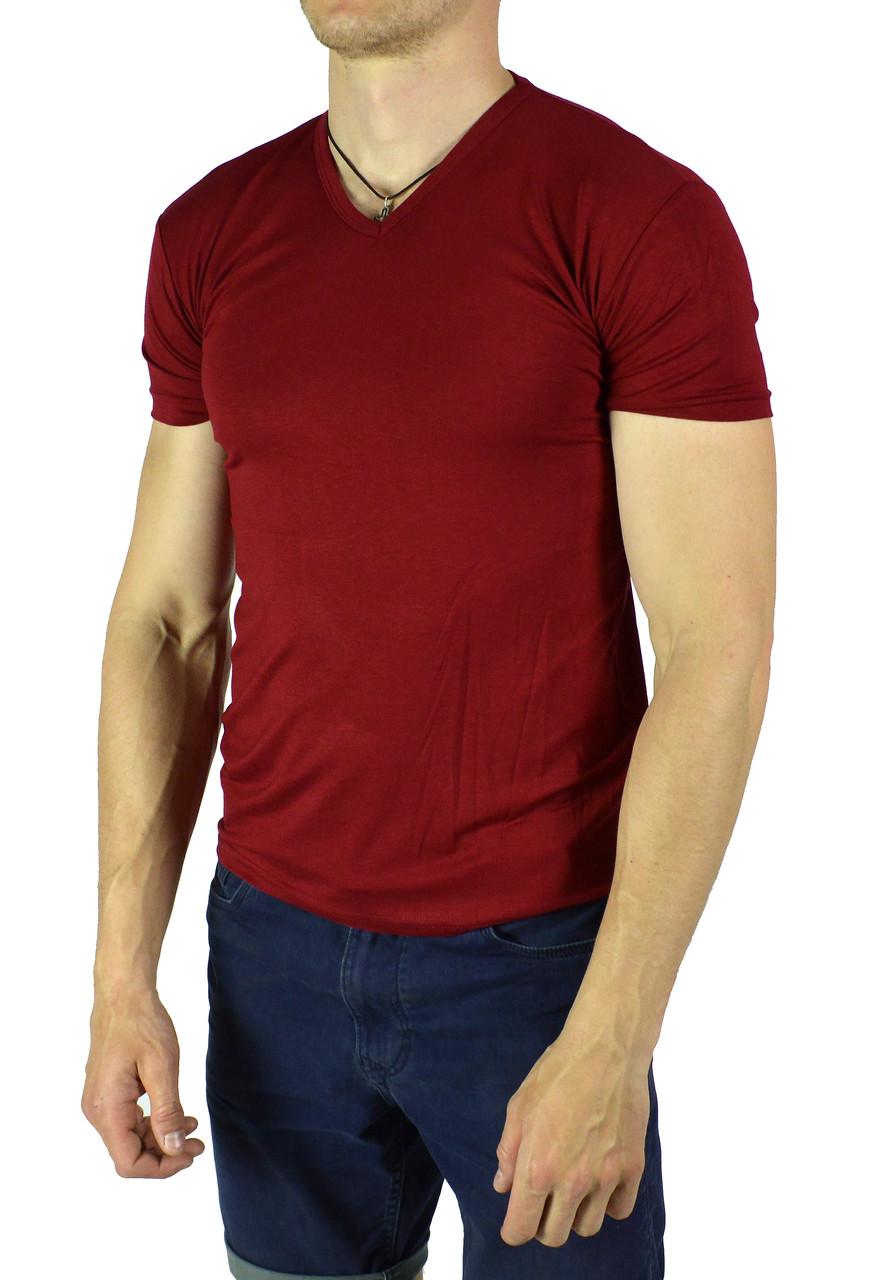 Красная мужская футболка однотонная WILUSA на лето