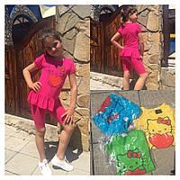 """Летний детский костюм для девочки """"Кити"""" шорты и футболка (4 цвета)"""