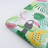 """Ткань хлопковая """"Графитовые туканы и бананы"""" на белом (№2272), фото 4"""