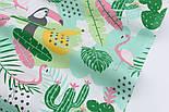 """Ткань хлопковая """"Графитовые туканы и бананы"""" на белом (№2272), фото 5"""